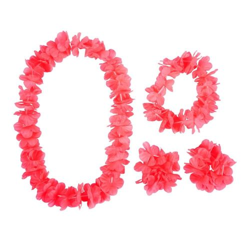 4 piece Hawaiian Leis Dress-up Set Accessory for Tropical Beach Fancy Dress